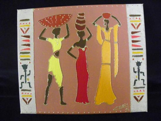 Peinture 3 femmes africaines
