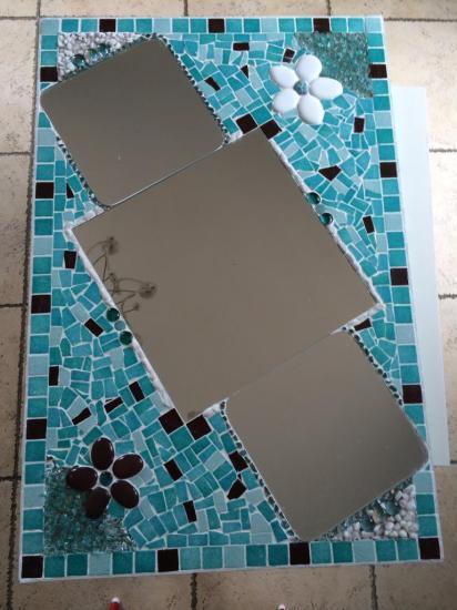 miroir mosaique turquoise